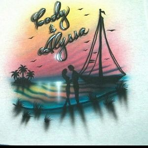 Tops - SAILBOAT LOVERS Airbrushed T-shirt Custom Made